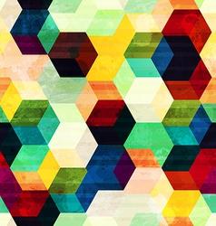 vintage rhombus seamless pattern with grunge vector image