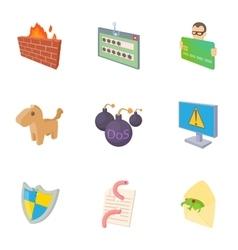 Viruses icons set cartoon style vector
