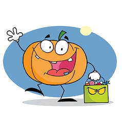Cartoon Character Pumkin With Bag vector image