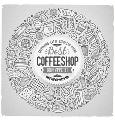 Set of coffee cartoon doodle objects symbols and vector