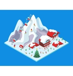 Isometric ski resort with hotel buildings vector
