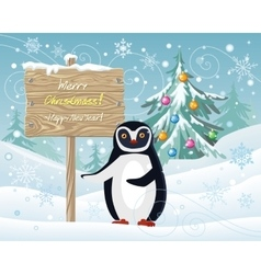 Merry christmas and happy new year poster penguin vector