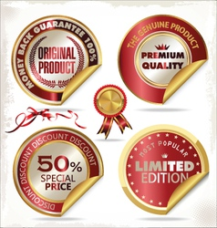 Set of gold and red premium quality labels vector