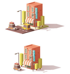 Low poly hotel icon vector