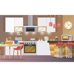 Kitchen interior flat vector
