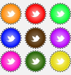 Messages retweet icon sign a set of nine different vector