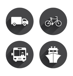 Transport icons truck bicycle bus and ship vector
