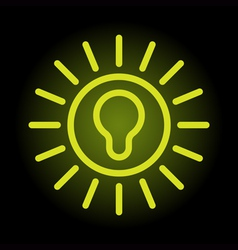 simple and elegant green bulb icon on black enligh vector image