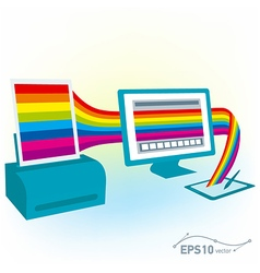 graphics tablet drawing design pc computer monitor vector image