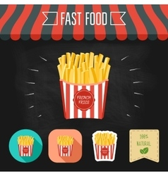 French fries icon on a chalkboard set of icons vector