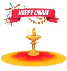 Onam sale banner with ribbon vector