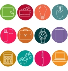 Line icons set icons for business management vector