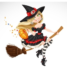 Beautiful witch with candy in pumpkin vector image