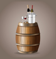 Bottle wine barrel glassware ice bucket vector