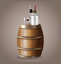 bottle wine barrel glassware ice bucket vector image