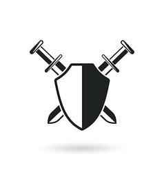 crossed swords with shield vector image vector image
