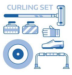 curling equipment outline icons vector image