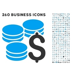 Dollar coins icon with flat set vector