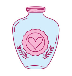 Full color mason jar with heart sticker and vector