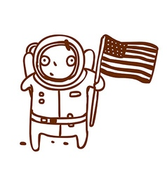 Hand Drawn American Astronaut vector image