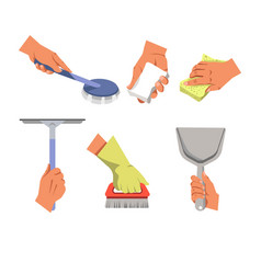 Hands holding different tools for cleaning on vector