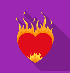 heart in flame icon in flat style isolated on vector image
