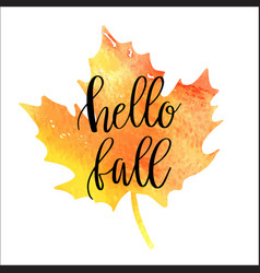 hello fall hand lettering phrase vector image vector image