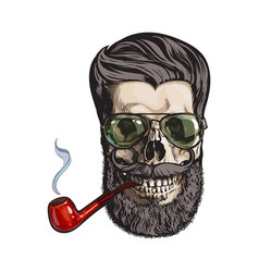 human skull with hipster beard wearing aviator vector image