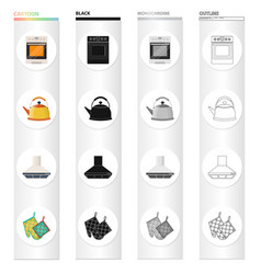Kitchen equipment cartoon icons in set collection vector