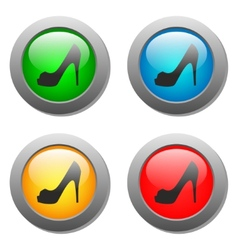 Lady shoe icon on buttons set vector image vector image