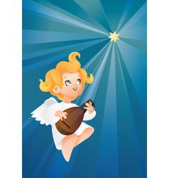 Luteist angel musician flying on a night sky vector