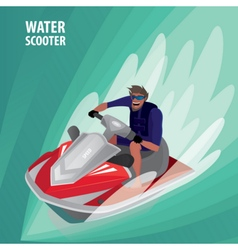 Man on a water scooter vector