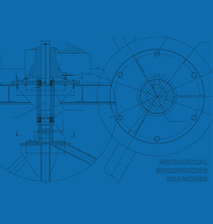 Mechanical engineering drawings blue background vector
