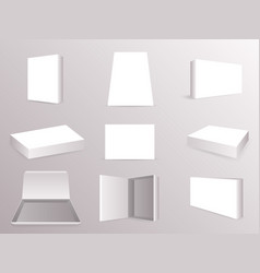package paper boxes front top isometric open vector image