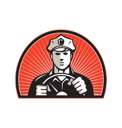 Policeman driver driving steering wheel vector