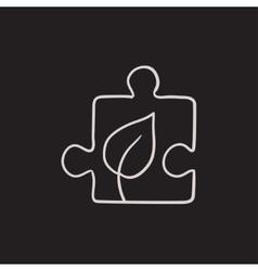 Puzzle with leaf sketch icon vector image vector image