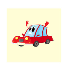 red car auto character flinging up arms in dismay vector image vector image