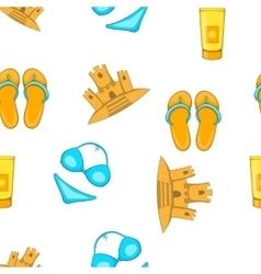 Sea beach pattern cartoon style vector