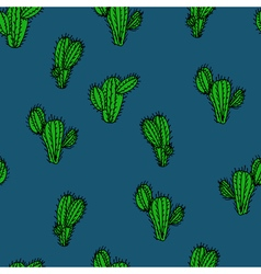 Seamless hand drawn pattern with cactus saguaro vector