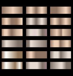 Set of bronze foil texture gradation background vector
