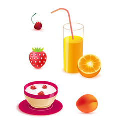 Set of healthy food breakfast vector