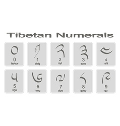 Set of monochrome icons with tibetan numerals vector image vector image