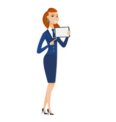 Smiling stewardess holding tablet computer vector