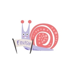 Snail crossing the finish line vector