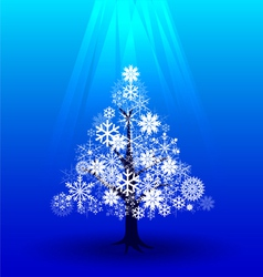 Snow christmas tree under light vector