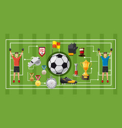 Soccer game banner horizontal cartoon style vector