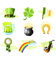 St. Patrick's Day icon set vector image vector image
