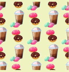 Sweet delicious macaroons coffee cup morning vector