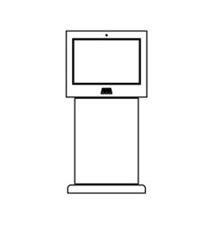 Terminal stand with touch screen black color path vector