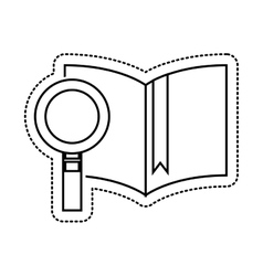 text book with magnifying glass isolated icon vector image